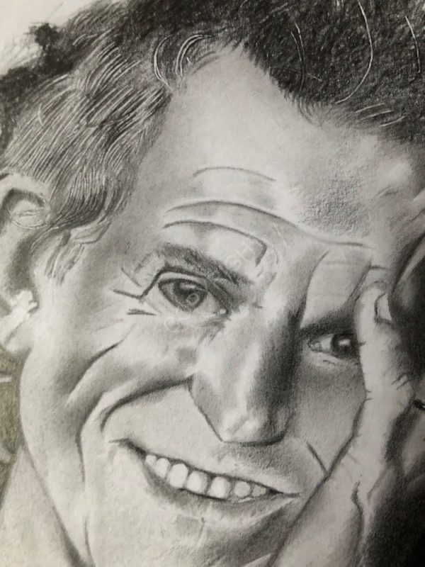 Keith Richards - Détail du visage, dessin à la mine graphite réalisé par l'artiste BB