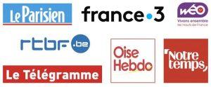Bannière avec les logos des médias parlant d'ART SHOP AND GO, la galerie d'art en ligne