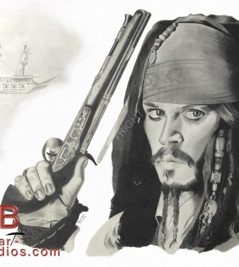 Portrait dessiné de Jack Sparrow, pirate des caraîbes, sous les traits de l'acteur Johnny Depp