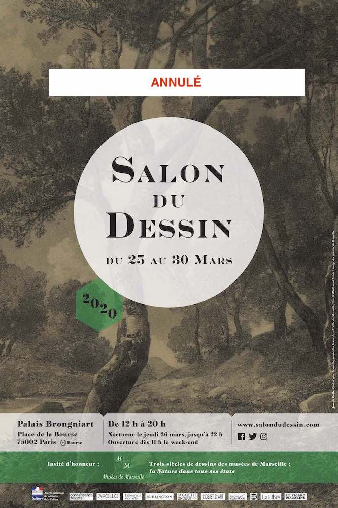 Affiche d'annulation du salon du dessin à Paris 2020