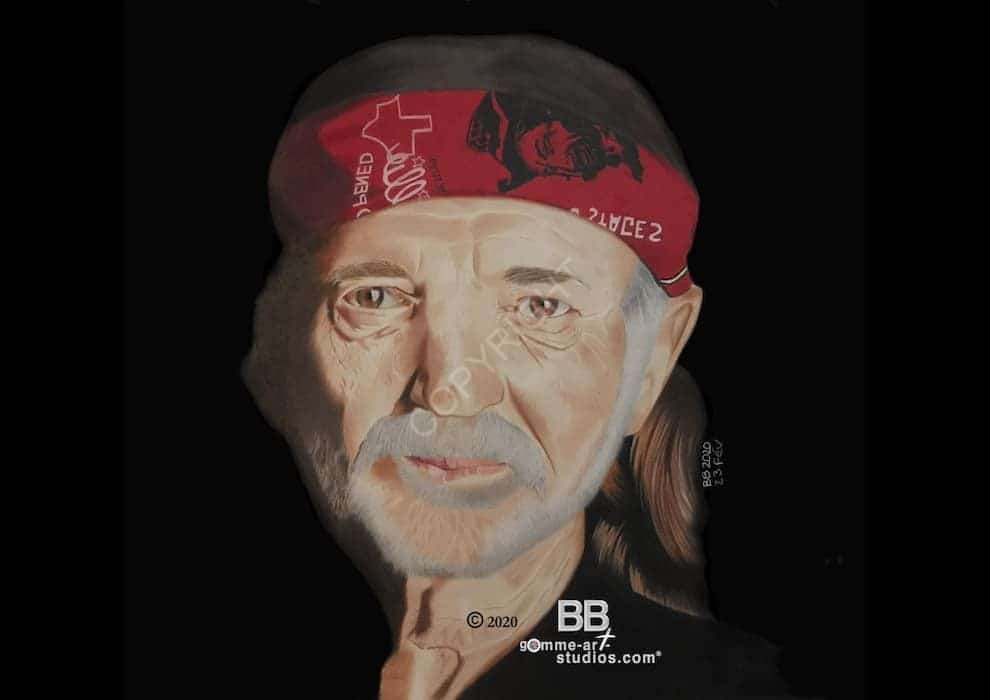 Portrait dessiné du chanteur de country Willie Nelson