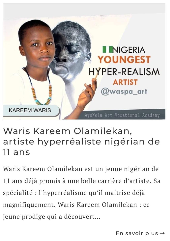Article sur l'artiste Waris Kareem Olamilekan
